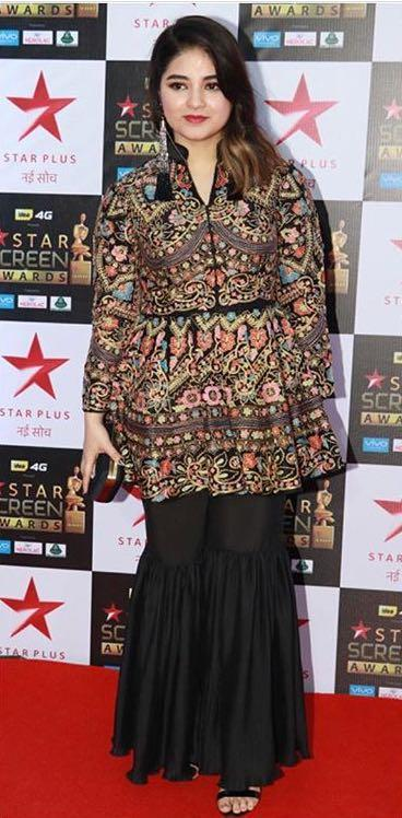 Yay or Nay? Zaira Wasim wearing an embroidered short jacket with black sharara pants at the Star screen awards 2017 - SeenIt