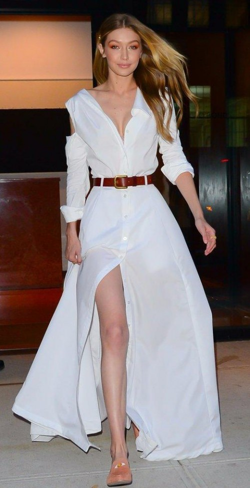 Yay or Nay? Gigi Hadid in this white cold-shoulder wrap dress - SeenIt
