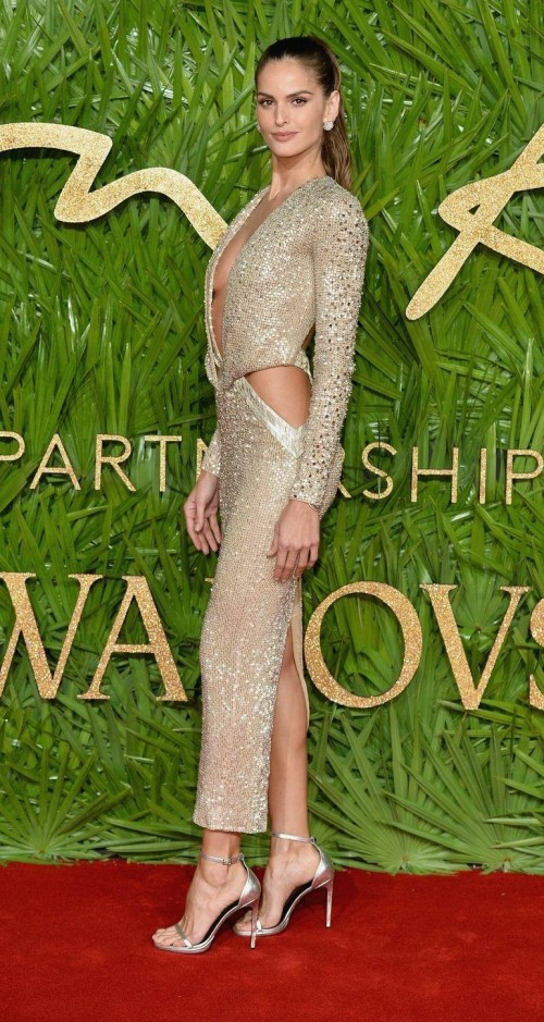 Yay or Nay? Izabel Goulart wearing a golden cut out Julien Macdonald dress at the British fashion awards 2017 - SeenIt