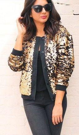 Similar gold sequin bomber jacket - SeenIt