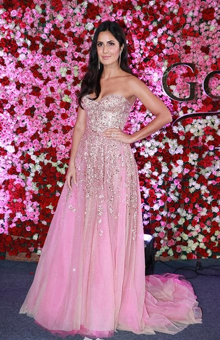Yay or Nay? Katrina Kaif wearing a pink strapless shimmer trail gown at the Lux Golden Rose awards 2017 last night - SeenIt
