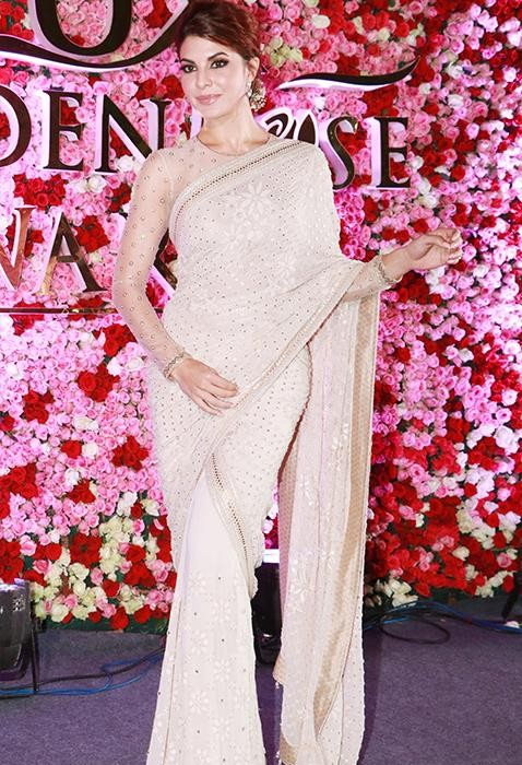 Yay or Nay? Jacqueline Fernandez wearing an ivory embroidered saree at the Lux golden rose awards 2017 last night - SeenIt