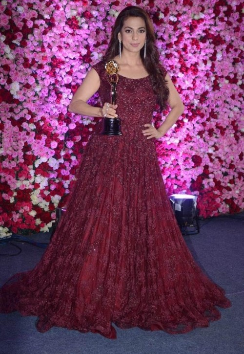 Yay or Nay? Juhi Chawla wearing a maroon flared embroidered gown at the Lux golden rose awards 2017 - SeenIt