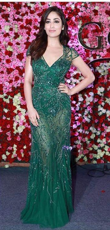 Yay or Nay? Yami Gautam wearing a green embroidered gown at the Lux golden rose awards 2017 last night - SeenIt