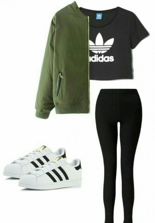 Black adidas tshirt , olive green jacket, black leggings, white sneakers - SeenIt