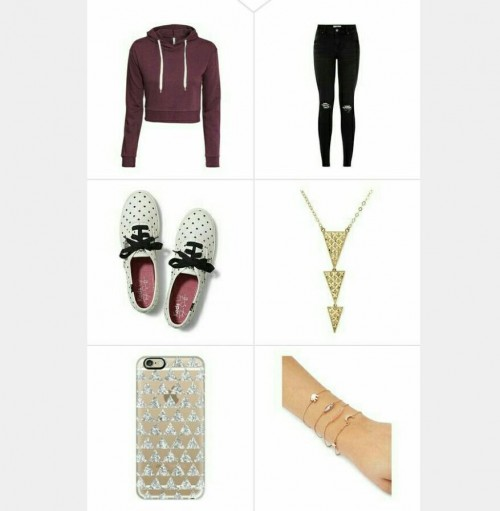 Maroon hoodie, black ripped jeans, white printed sneakers , gold necklace , bracelet , and printed phone cover - SeenIt