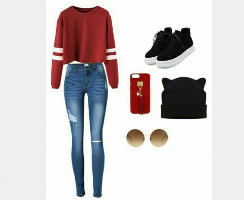 Red sweater , blue ripped skinny jeans , black beanie , black sneakers, red phone cover, sunglasses - SeenIt