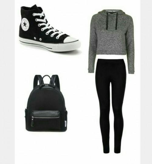 Grey sweatshirt , black leggings, black converse and black backpack - SeenIt