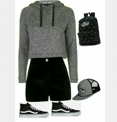 Grey hoodie, black printed backpack, grey cap , black shorts, black sneakers - SeenIt