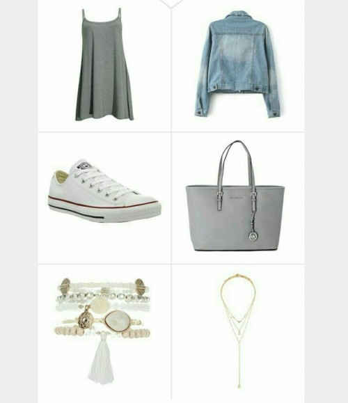 Grey slip dress ,blue denim jacket, white sneakers ,grey handbag, gold bracelet, layered necklace - SeenIt