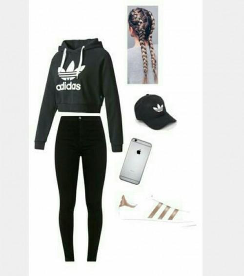 Grey adidas hoodie, black cap, black jeans , white sneakers - SeenIt