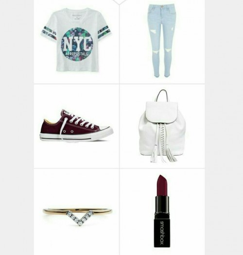 White printed tshirt, blue ripped jeans , maroon sneakers, white backpack , gold ring , burgundy lipstick - SeenIt