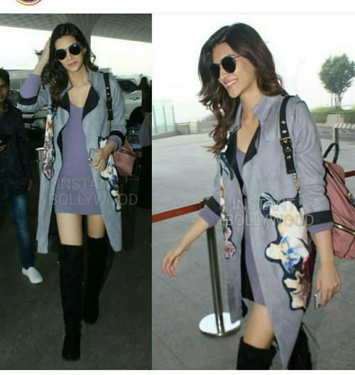 Kriti Sanon purple dress ,grey printed coat , black sunglasses , black high boots at the airport - SeenIt