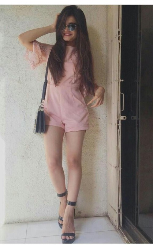 this rajvee gandhi's outfit please..❤ the pastel pink playsuit - SeenIt