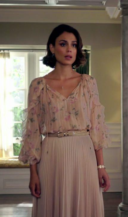 Cristal Carrington's floral print shirt and pleated skirt from dynasty - SeenIt