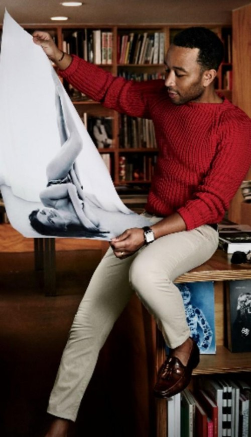 John Legend red sweater, beige pants and brown shoes - SeenIt