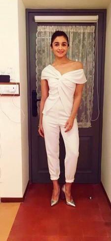 Alia Bhatt white off shoulder jumpsuit - SeenIt