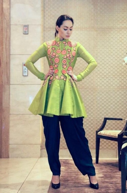 Green embroidered kurta and white pants - SeenIt