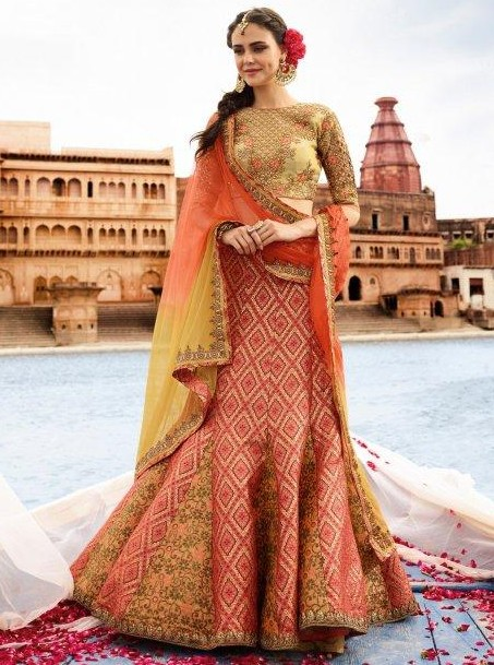 I am looking for similar red silk lehenga choli with embroidery work - SeenIt