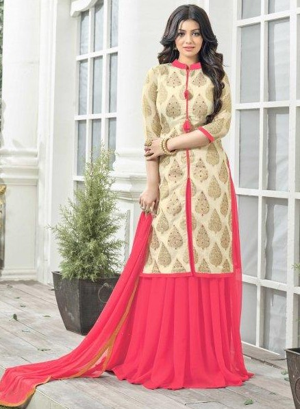 I am looking for a similar pink and cream chanderi silk indo western suit - SeenIt