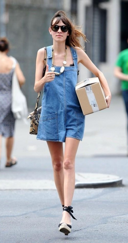 Similar denim overall that Alexa Chung is wearing - SeenIt