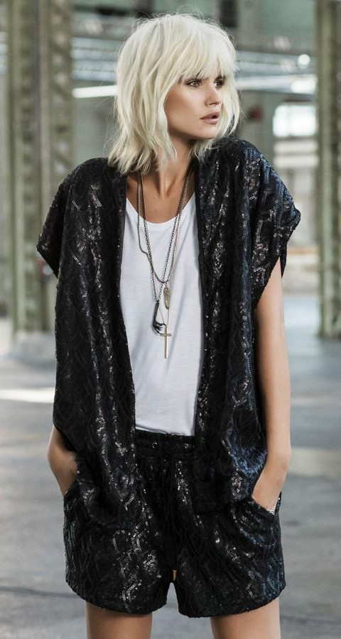 Similar black sequin kimono - SeenIt