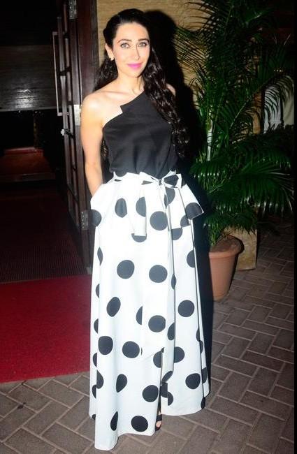 Yay or Nay? Karisma kapoor wearing oneshoulder top and white polkadots palazzo - SeenIt