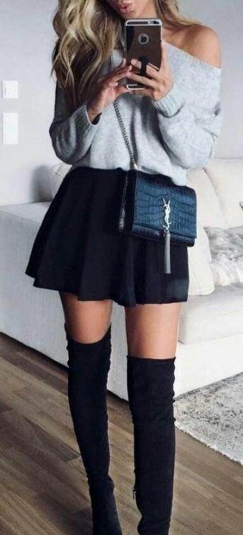 this whole look... grey sweater, black skater skirt, and high boots - SeenIt