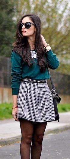 This green sweater and black-white houndstooth skater skirt - SeenIt