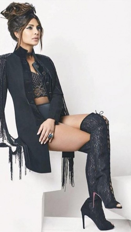 Similar lace-up over the knee boots that Priyanka Chopra is wearing - SeenIt