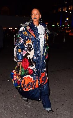 Yay or Nay? Rihanna in this blue denim oversize patch jacket - SeenIt