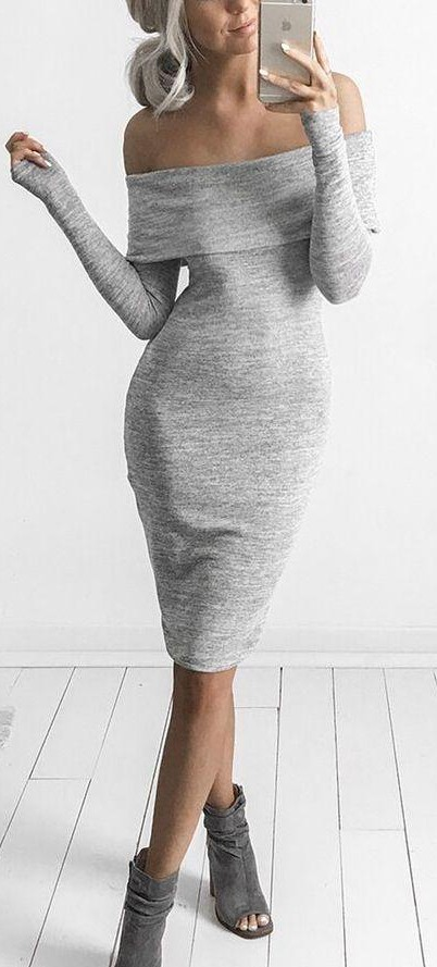 Similar off-shoulder grey sweater dress - SeenIt