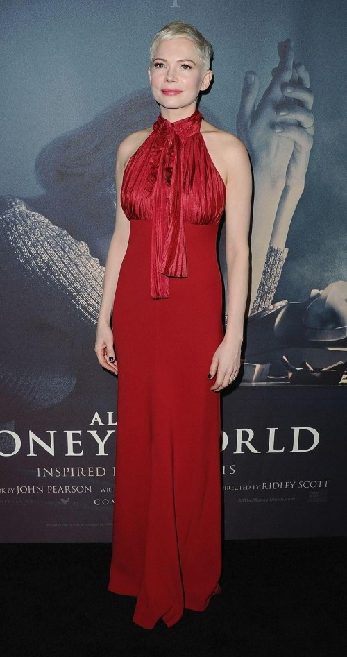 b9a5453175 Michelle Williams in this red halter neck gown - SeenIt