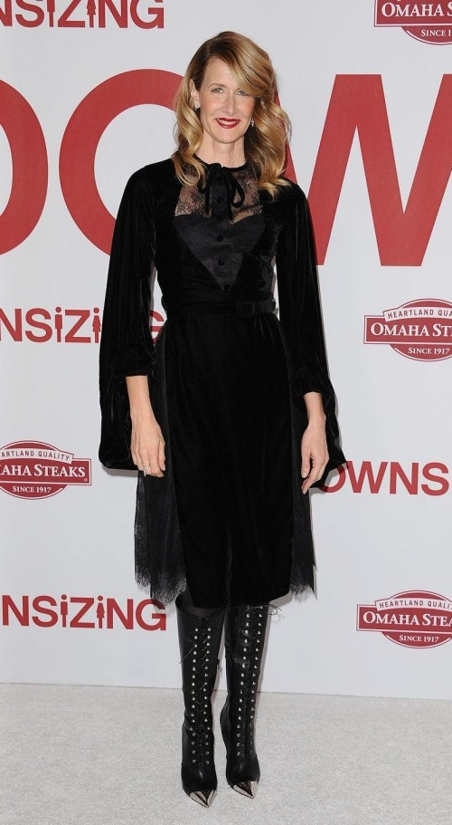 Yay or nay? LauraDern in this black midi dress and lace-up high boots - SeenIt
