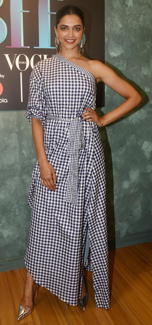 Yay or Nay? Deepika Padukone in this white one-shoulder gingham wrap maxi top - SeenIt