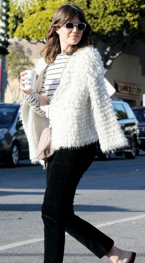 Mandy Moore's white fur jacket and black jeans - SeenIt