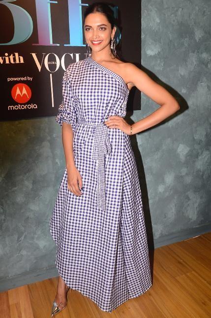 Deepika Padukone checkered one shoulder dress - SeenIt