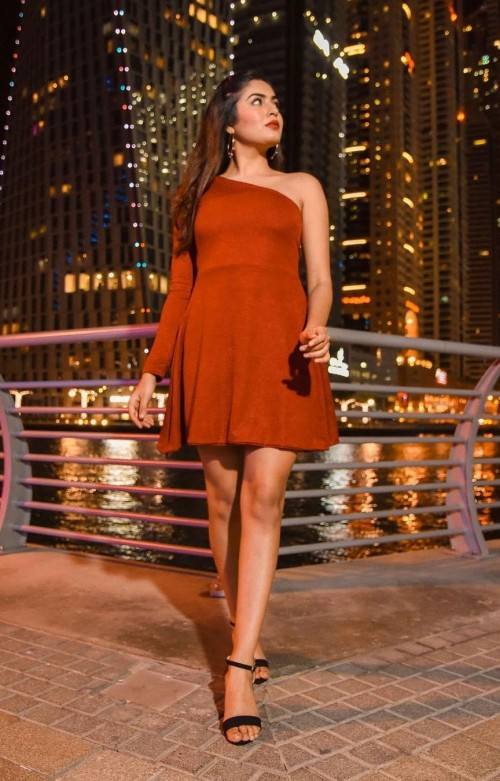 This red one-shoulder skater dress that is seen on Mehakghai - SeenIt
