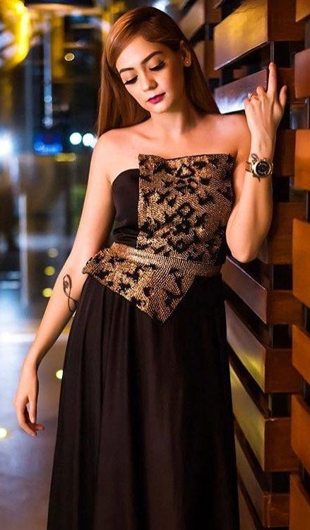 Similar black embroidered peplum gown - SeenIt