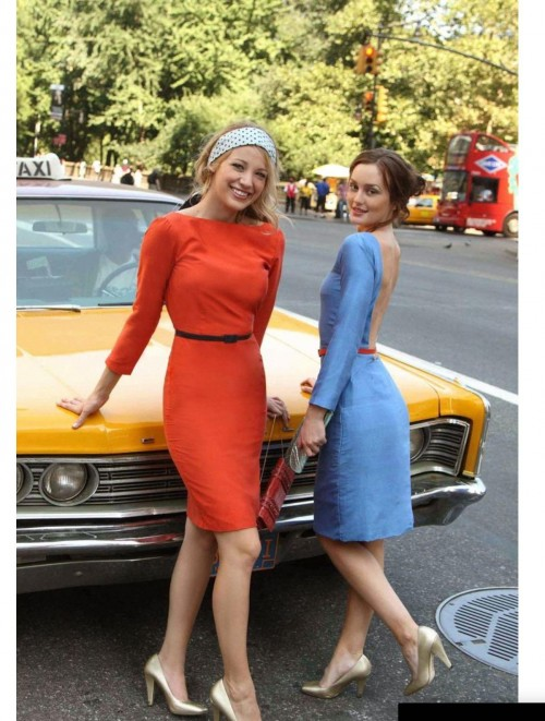I am looking for a similar dress of the red/orange dress but also for the blue one from serena and blair from gossip girl - SeenIt