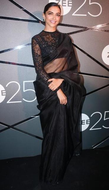 Similar Black sheer saree that Deepika Padukone is wearing - SeenIt