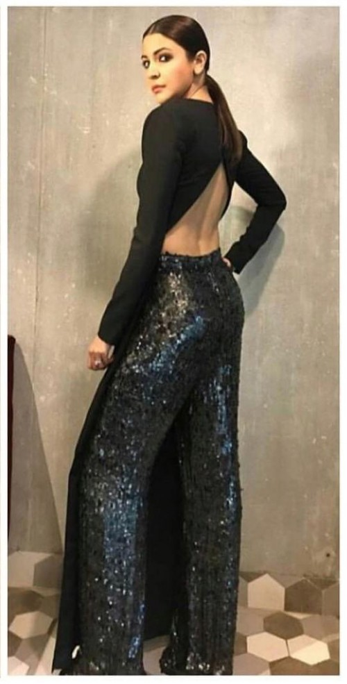 Yay or Nay? Anushka Sharma in this black backless top and shimmer pants - SeenIt
