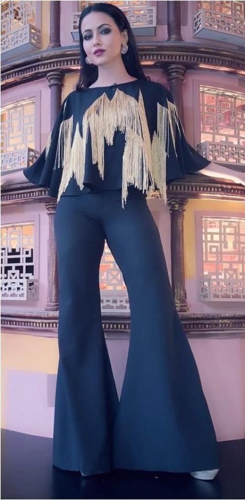 Sana Khan's black gold fringe crop top and black pants - SeenIt