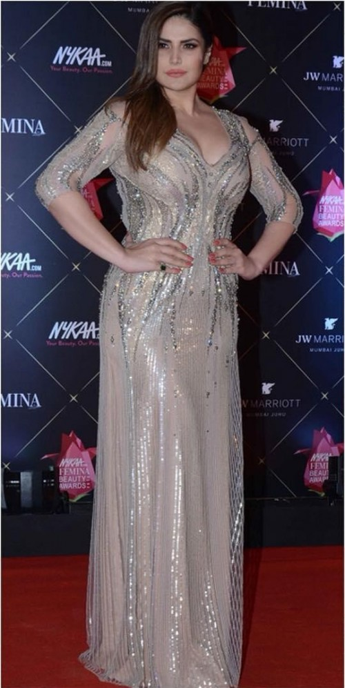 Yay or Nay? Zareen Khan in this beige shimmer dress at Nykaa Beauty Awrads 2018 - SeenIt