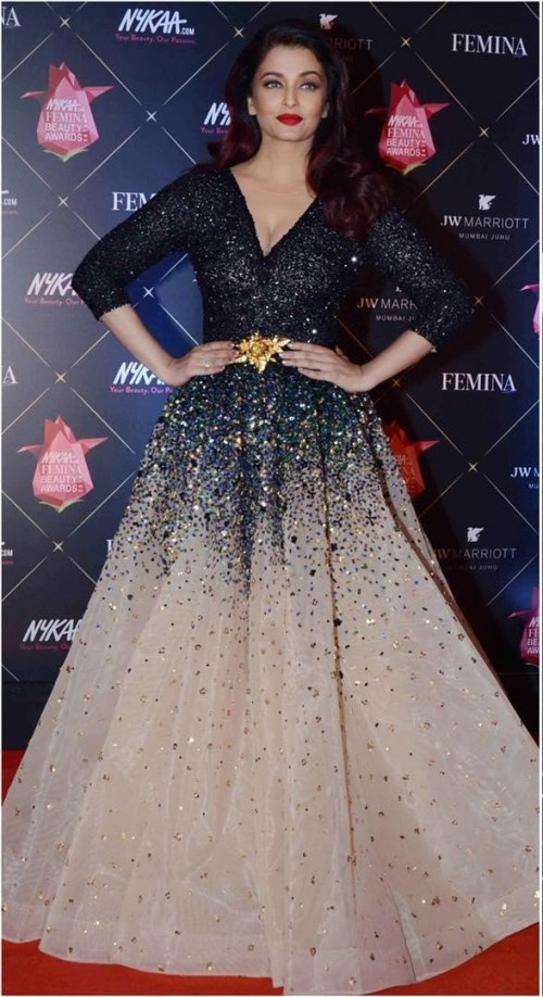 Yay or Nay? Aishwarya Rai Bachchan in this Black beige shimmer gown at Nykaa Beauty Awards 2018 - SeenIt