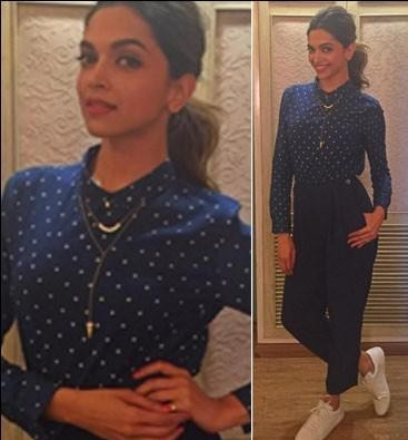 Want the navy blue polka dot top and trousers which Deepika Padukone is wearing - SeenIt