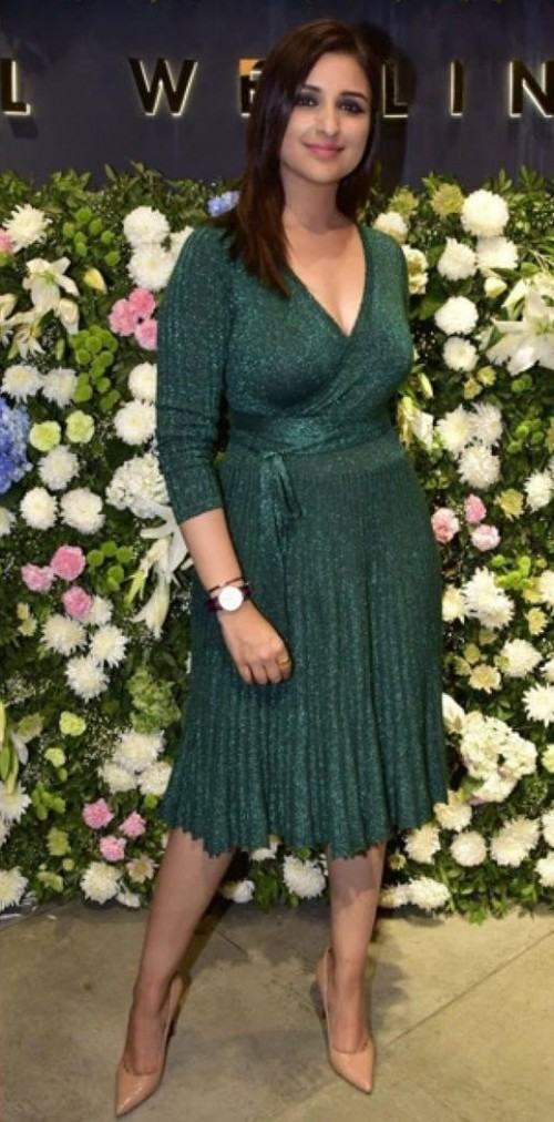 Yay or Nay? Parineeti Chopra in this green shimmer pleated dress - SeenIt