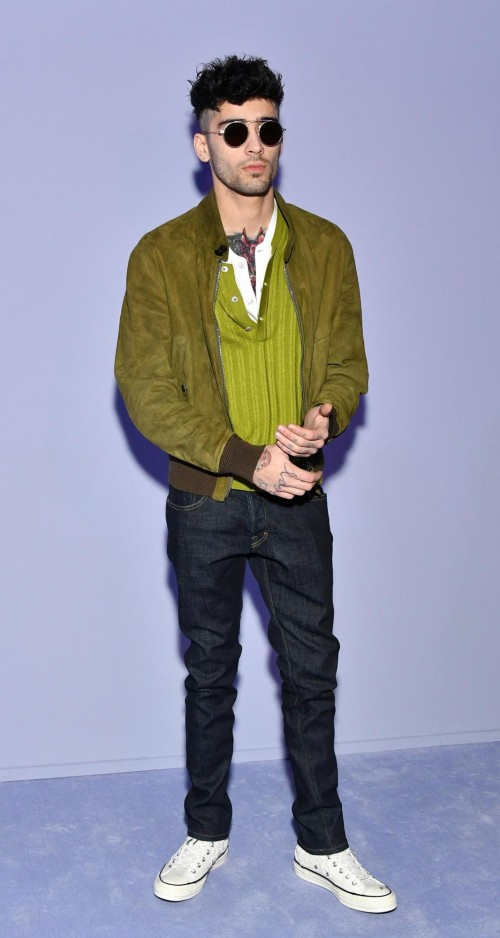 Yay or Nay? Zayn Malik in Tom Ford's green sweater, jacket, blue denim at New York Fashion Week 2018 - SeenIt