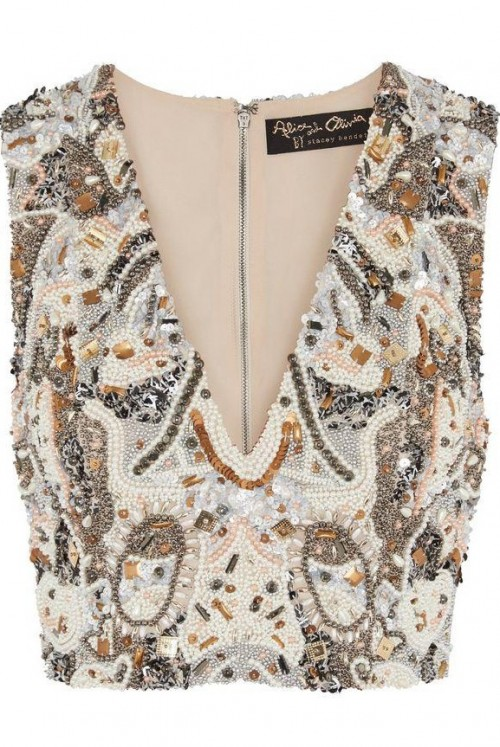 Similar embellished crop top that can go over a maxi skirt - SeenIt