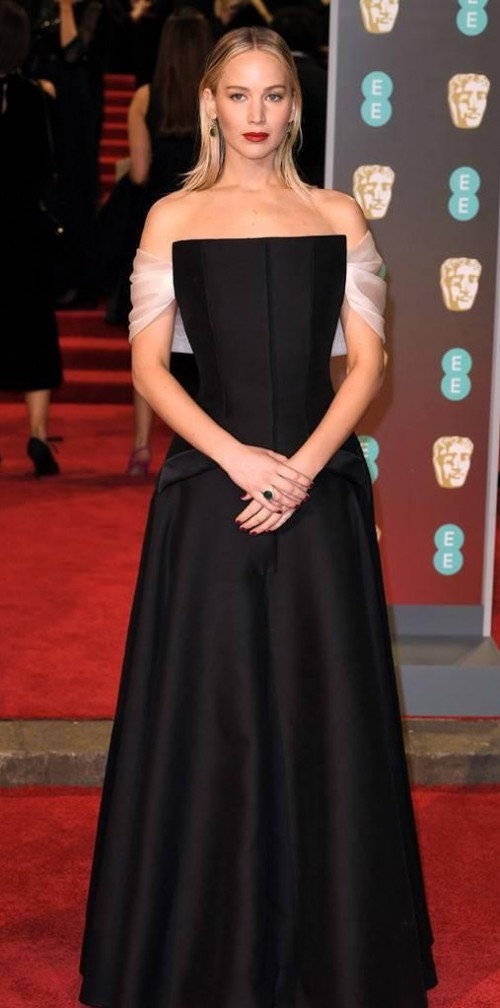 Yay or Nay? Jennifer Lawrence in this black gown at BAFTA Awards 2018 - SeenIt